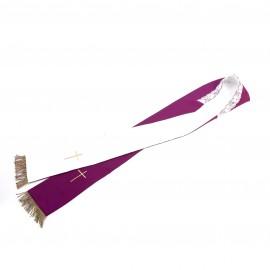 Stuła   2-stronna   fioletowo - ecru  krzyż frędzle