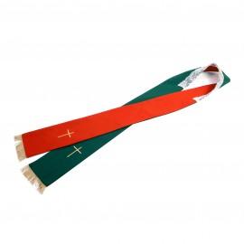 Stuła   2-stronna zielono- czerwona,  krzyż, frędzle