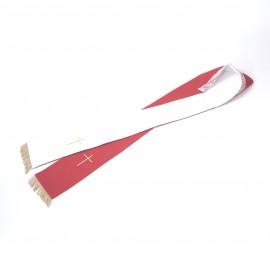 Stuła 2 stronna czerwono-ecru z frędzlami