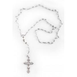 Różaniec komunijny - koraliki perłowe, okucia srebrne