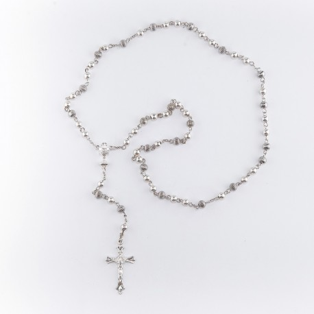 Różaniec komunijny - koraliki srebrne