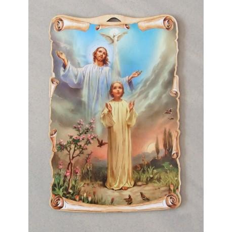 Pamiątka sakramentu chrztu świętego na płycie