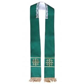 Zielona stuła z haftem - krzyże jerozolimskie