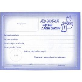 Wyciąg z aktu chrztu (Ad sacra) A5-opak.50 szt.