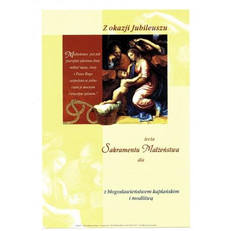 Dyplom Jubileusz Sakramentu Małżeństwa