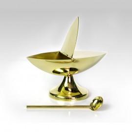 Łódka mosiężna wys. 7 cm  z łyżeczkąŁódka mosiężna wys. 7 cm  z łyżeczką