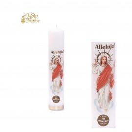 Świeca ołtarzowa biała naklejka Chrystus Zmartychwstały