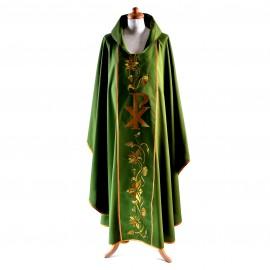 Ornat  EXCLUSIVE zielony, haft złoty PX, RÓŻE