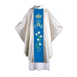 Ornat maryjny z haftowanym pasem - lilie w pionie, tkanina ze złotym ornamentem