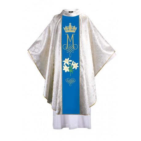 Ornat maryjny z haftowanym pasem - bukiet lilii, tkanina ze złotym ornamentem