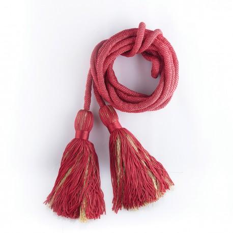 Cingulum czerwone ze złotym zdobieniem pompona