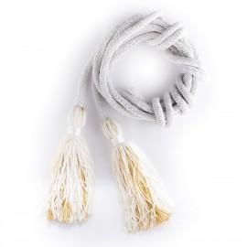 Cingulum białe ze złotym zdobieniem pompona