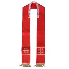 Czerwona stuła z haftem - krzyże jerozolimskie