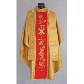Złoty ornat z haftem - lilie oraz symbol PX