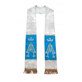 Stuła carska platyna pas niebieski haft maryjny AVE