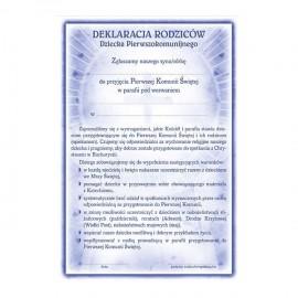 Deklaracja rodziców dziecka pierwszokomunijnego