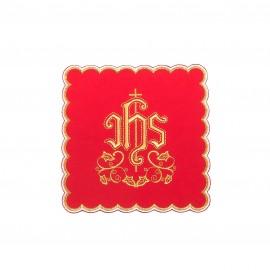Palka czerwona do kielicha, haft IHS nr.1